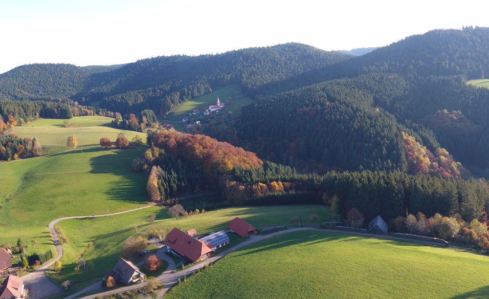Alexenhof mit dem Dorf und Wallfahrtskirche St. Roman im Hintergrund