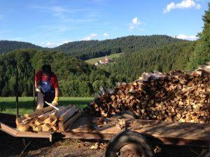 Verladen von Holz für die Heizung und Warmwassergewinnung